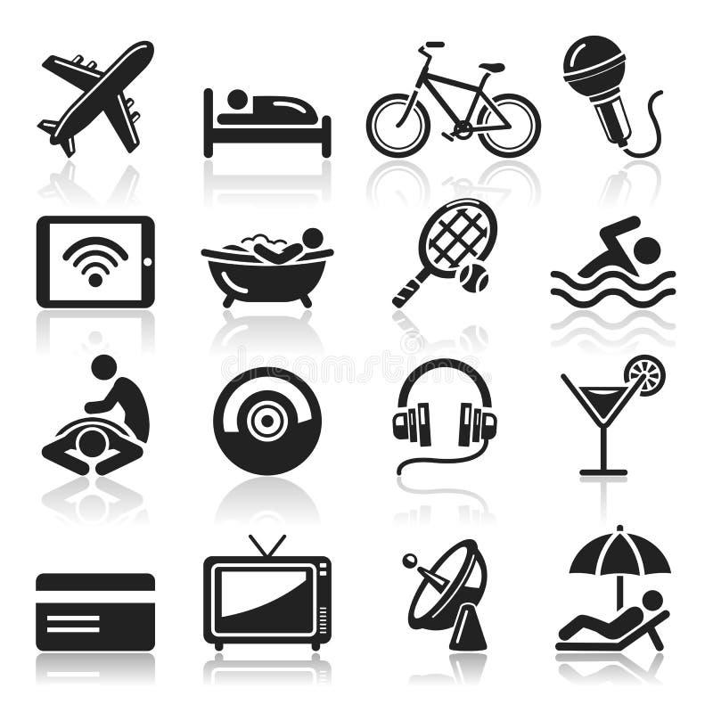 Ícones do hotel ajustados. ilustração stock