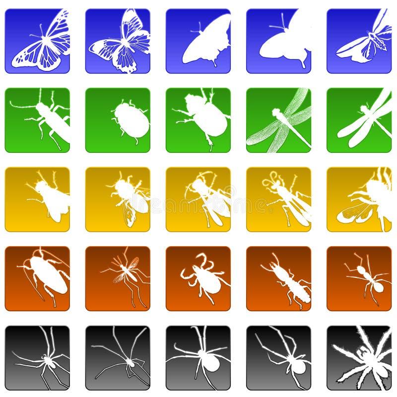 Ícones do inseto ilustração stock