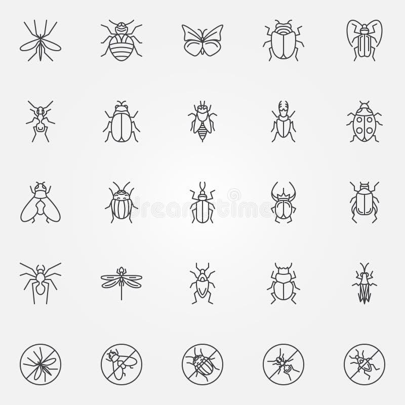 Ícones do inseto ajustados ilustração royalty free