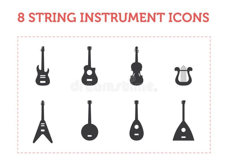 8 ícones do instrumento da corda fotografia de stock royalty free