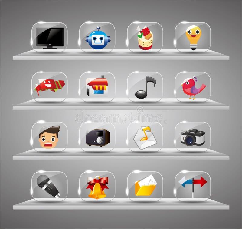 Ícones do Internet do Web site, tecla de vidro transparente ilustração stock