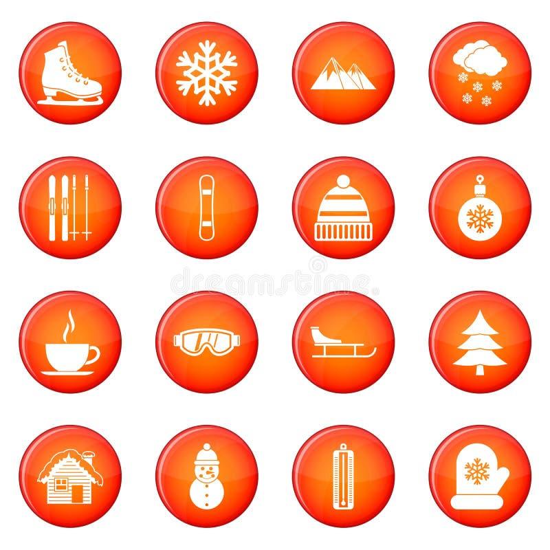 Ícones do inverno ajustados ilustração do vetor
