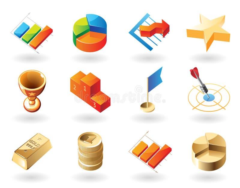 ícones do Isométrico-estilo para o sumário do negócio ilustração stock