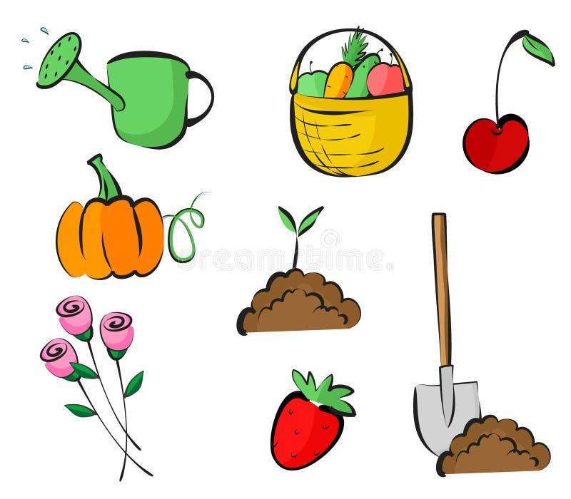 Ícones do jardim ilustração stock