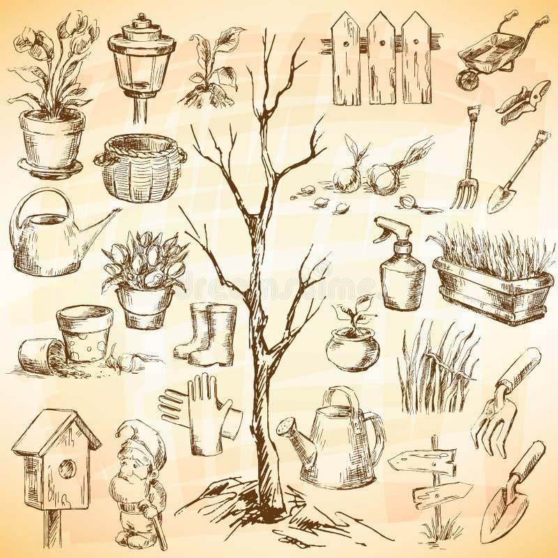 Ícones do jardim ajustados ilustração royalty free
