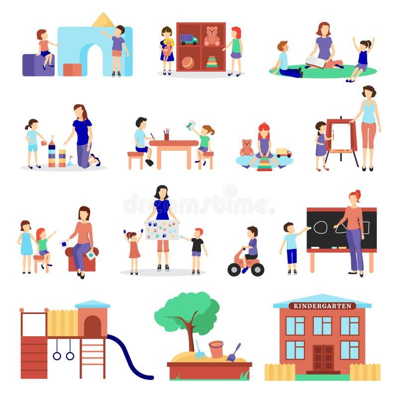 Ícones do jardim de infância ajustados ilustração stock