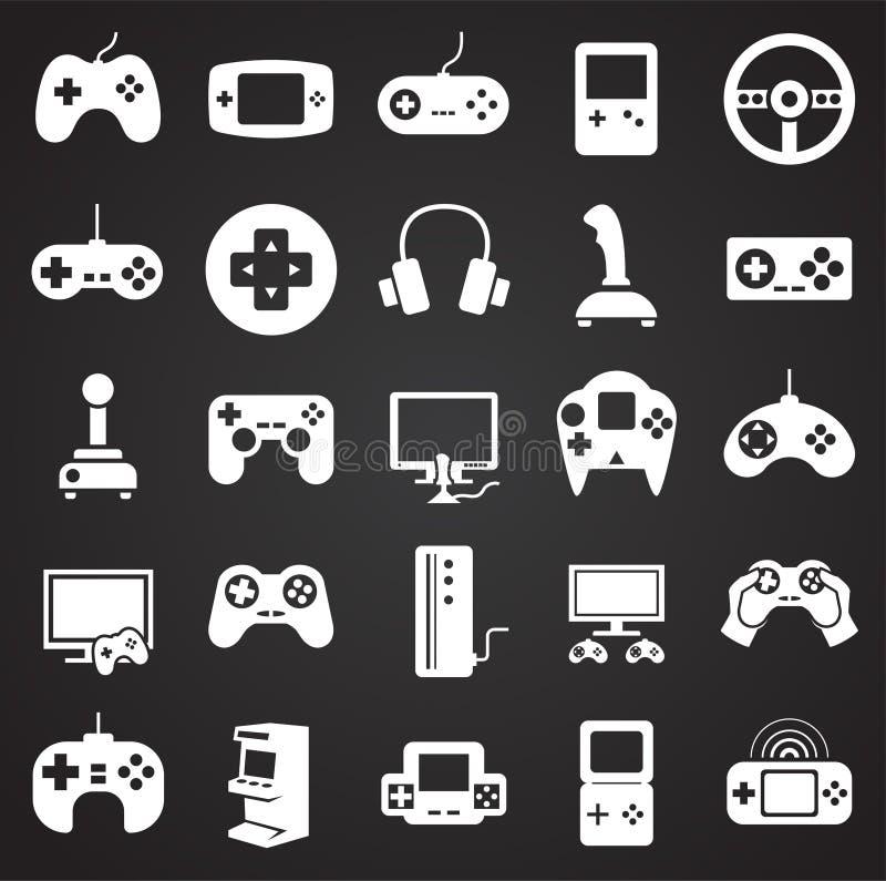 Ícones do jogo ajustados no fundo preto para o gráfico e o design web Sinal simples do vetor Símbolo do conceito do Internet para ilustração royalty free