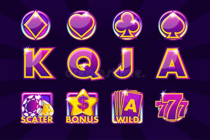 Ícones do jogo de símbolos do cartão para slots machines ou casino em cores roxas Casino do jogo, entalhe, UI ilustração do vetor