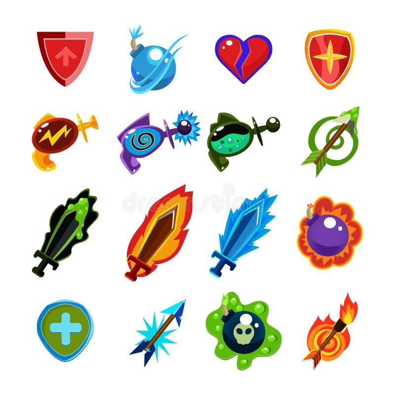 Ícones do jogo de vídeo ajustados ilustração do vetor