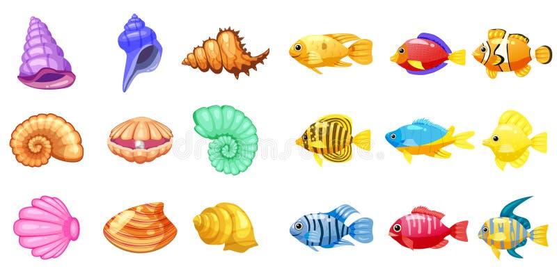 Ícones do jogo do vetor dos desenhos animados com concha do mar, peixe tropical do recife de corais colorido, pérola, para o jogo ilustração royalty free