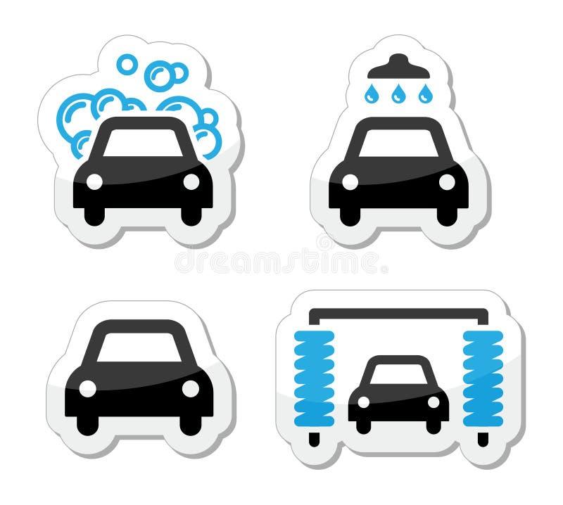 Ícones do lavagem de carros ajustados -   ilustração do vetor
