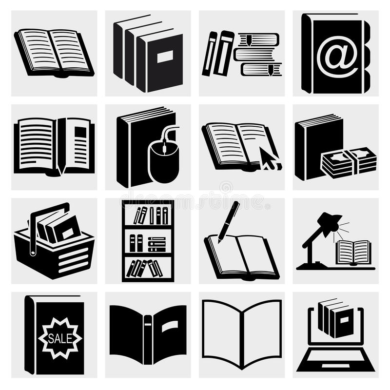 Ícones do livro ajustados. ilustração stock