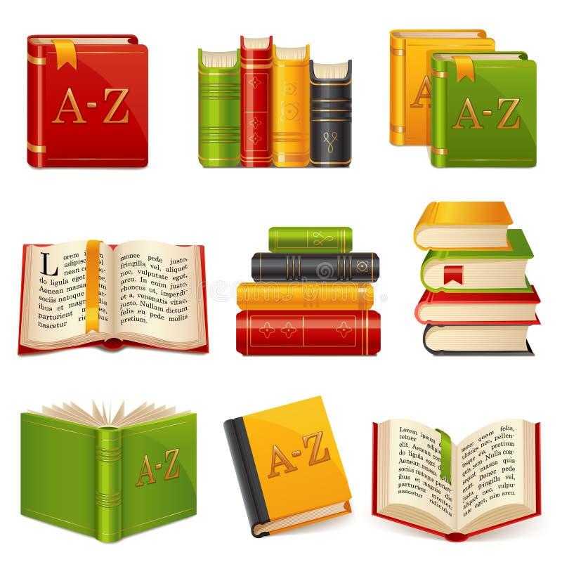 Ícones do livro ajustados ilustração royalty free
