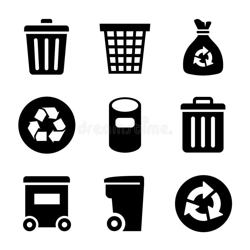 Ícones do lixo ajustados ilustração do vetor