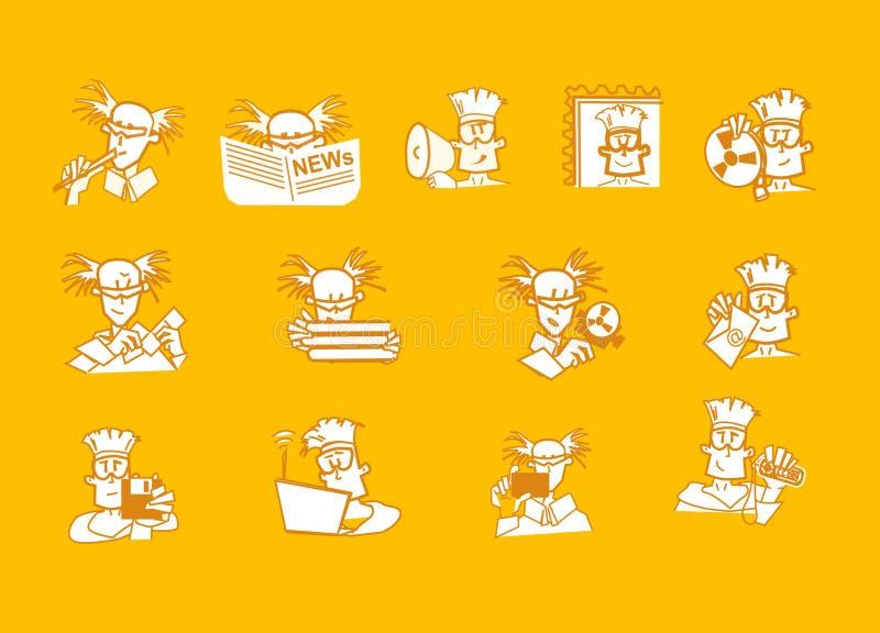 Ícones do local do caráter ilustração stock