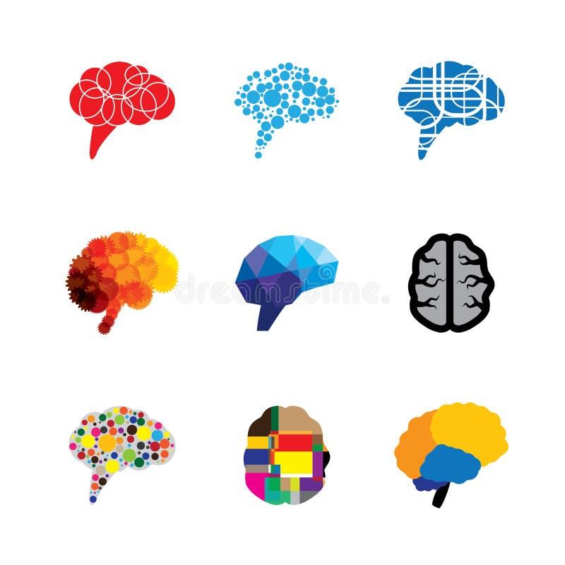 Ícones do logotipo do vetor do conceito do cérebro e da mente ilustração stock