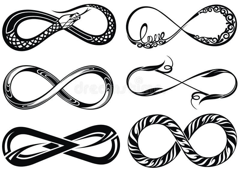 Ícones do logotipo do laço da infinidade Infinidade ilimitada do vetor, linha infinita sinal da forma ilustração royalty free