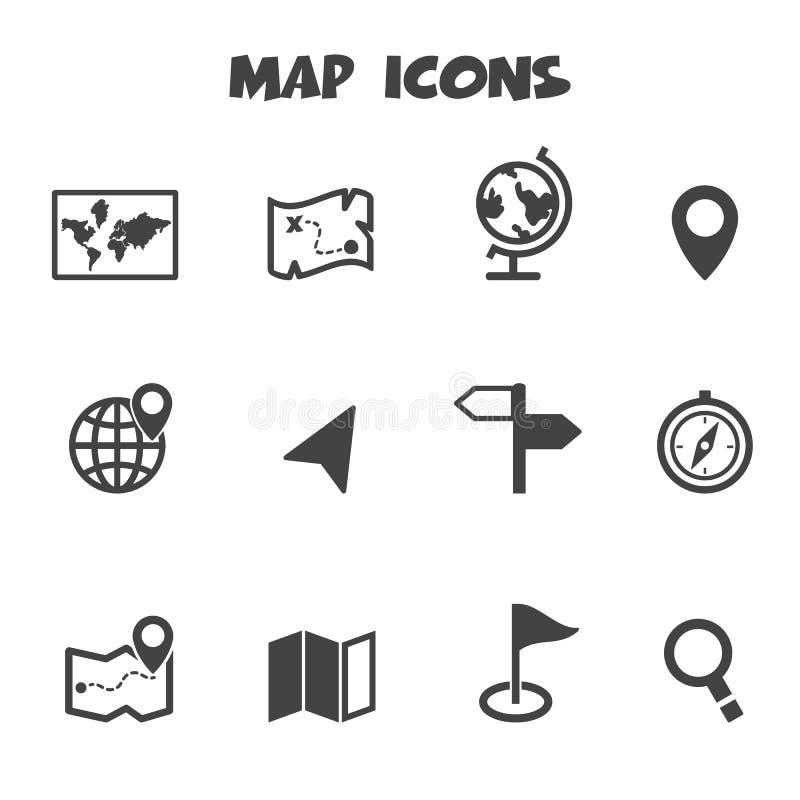 Ícones do mapa ilustração stock