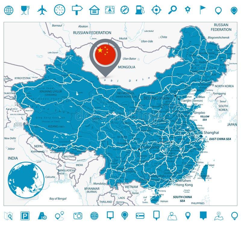 Ícones do mapa de estradas e da navegação de China ilustração do vetor