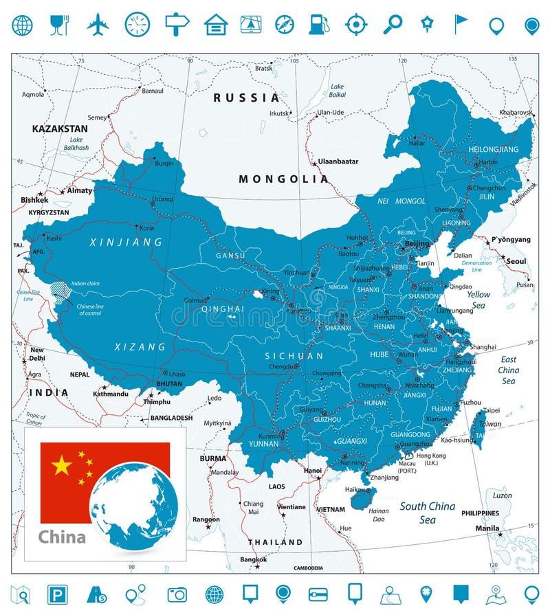 Ícones do mapa de estradas e da navegação de China ilustração stock