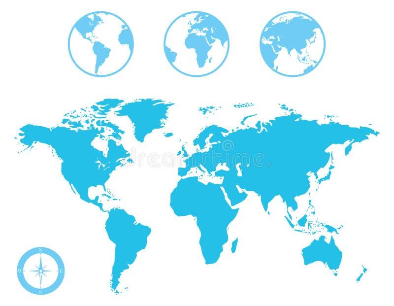 Ícones do mapa do mundo e do globo ilustração do vetor