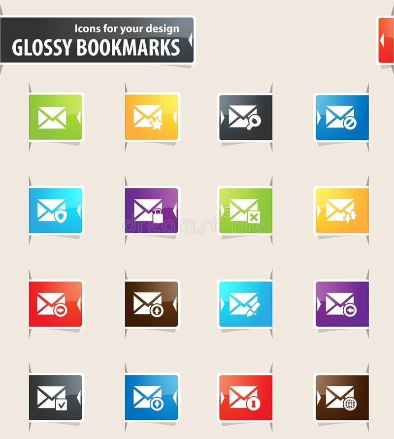 Ícones do marcador do correio e do envelope ilustração do vetor