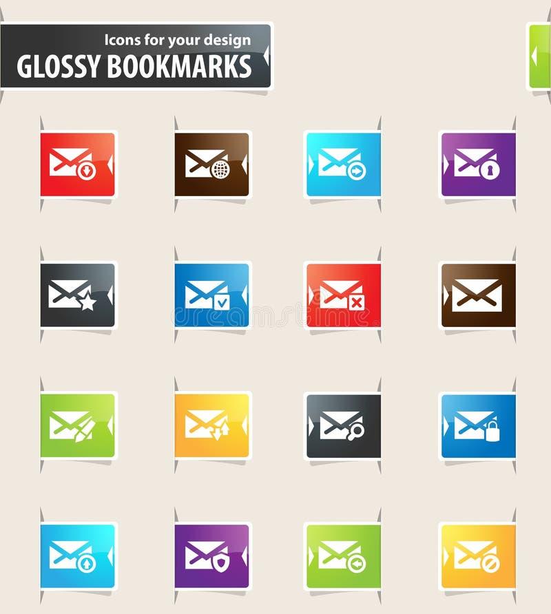 Ícones do marcador do correio e do envelope ilustração royalty free