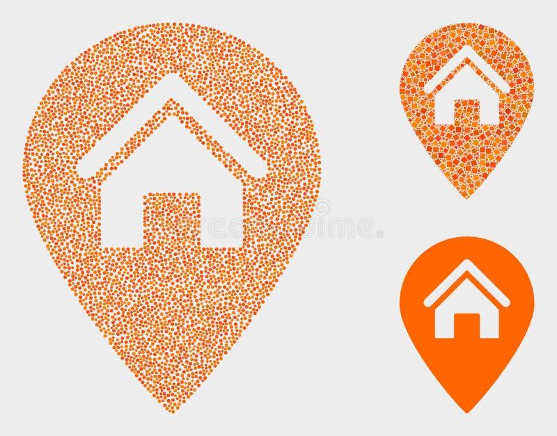 Ícones do marcador do mapa da casa do vetor do pixel ilustração do vetor