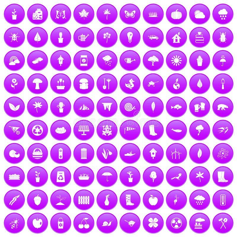 100 ícones do material de jardim ajustados roxos ilustração stock