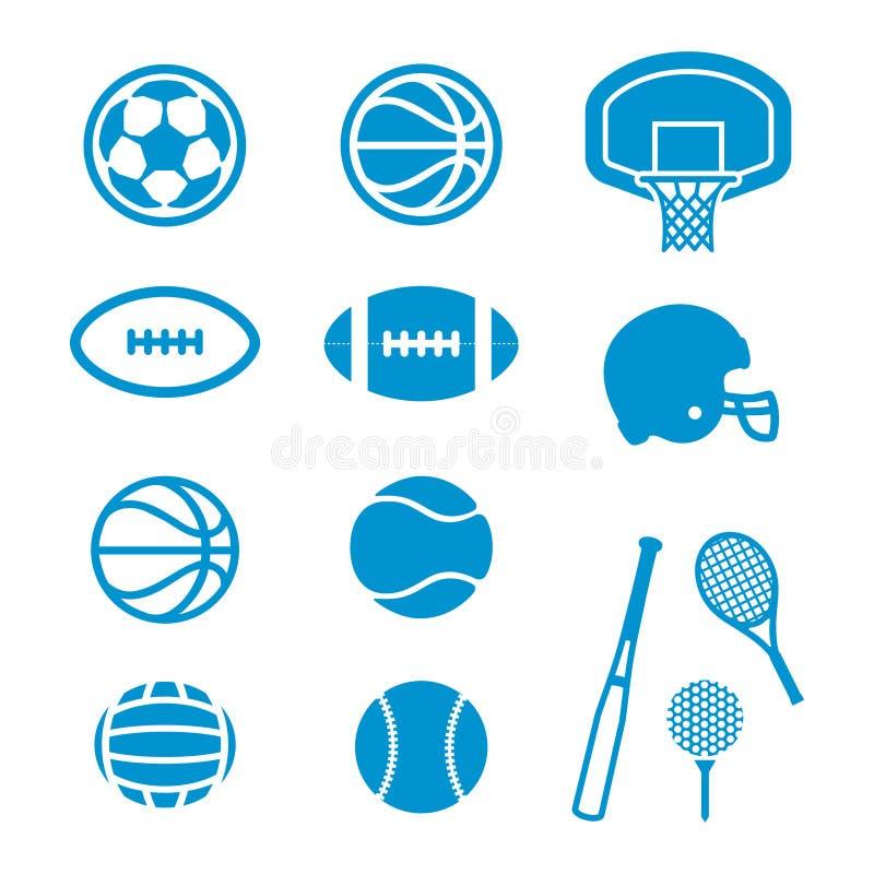 Ícones do material desportivo e das bolas ilustração stock