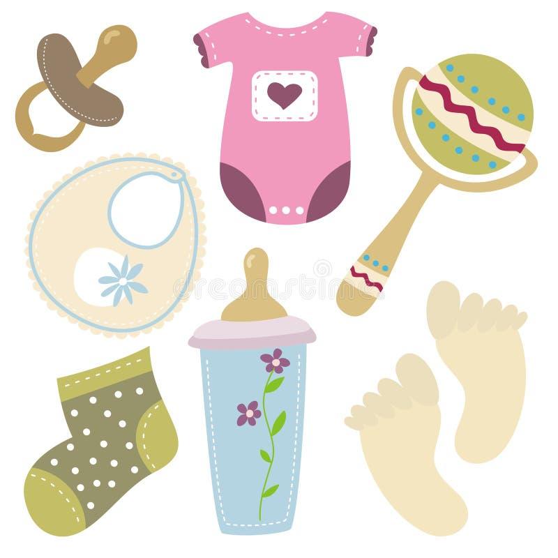 Ícones do material do bebê dos desenhos animados ilustração royalty free
