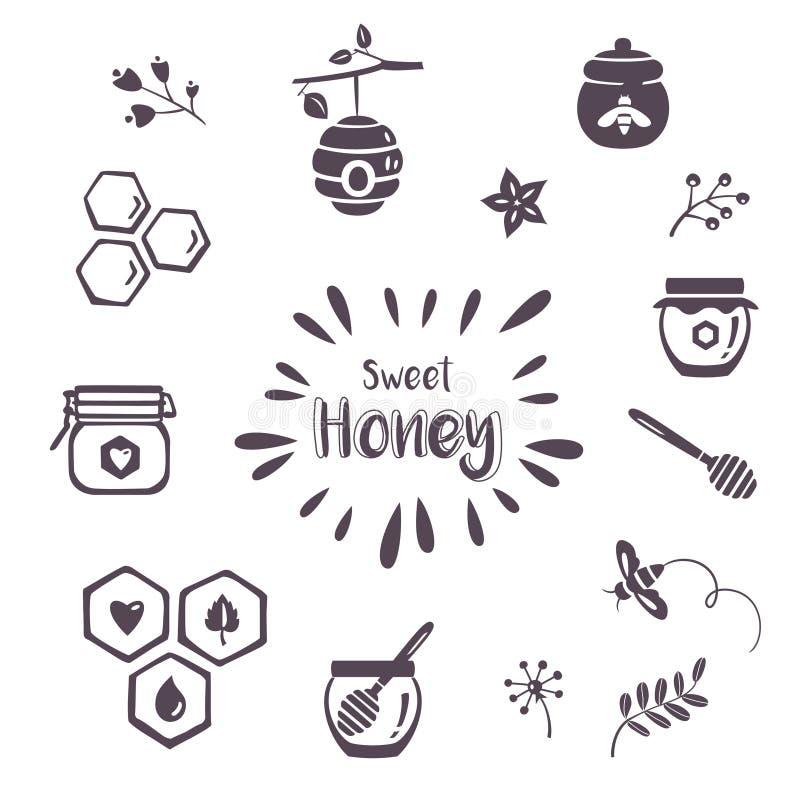 Ícones do mel do verão ilustração royalty free
