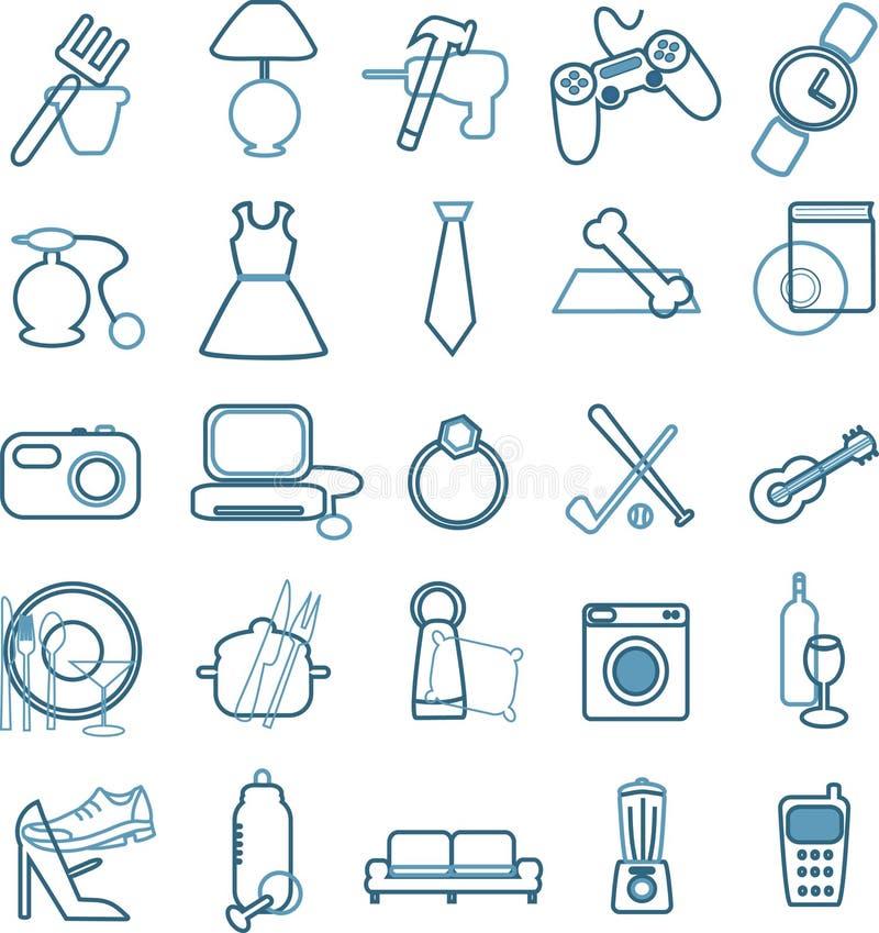 Ícones do menu do armazém ilustração stock