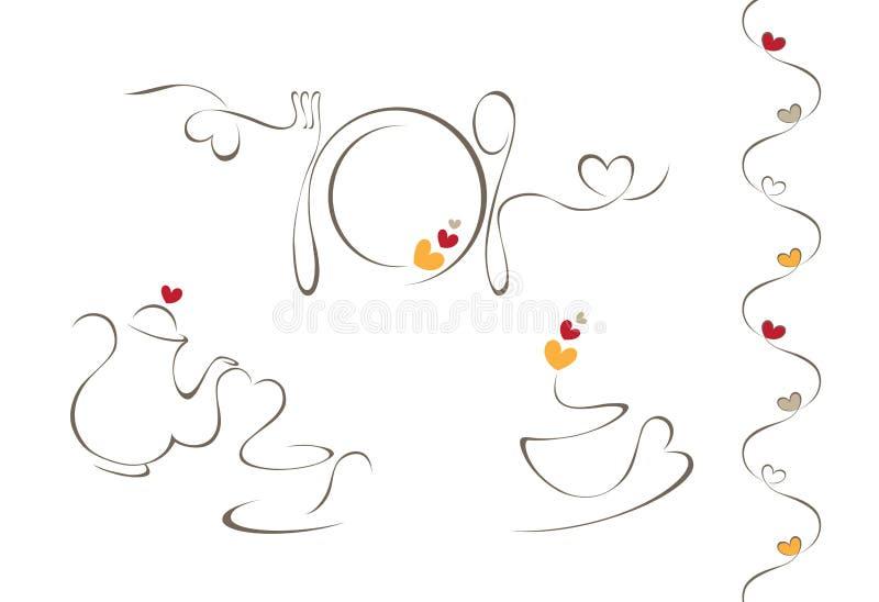 Ícones do menu do coração ilustração stock