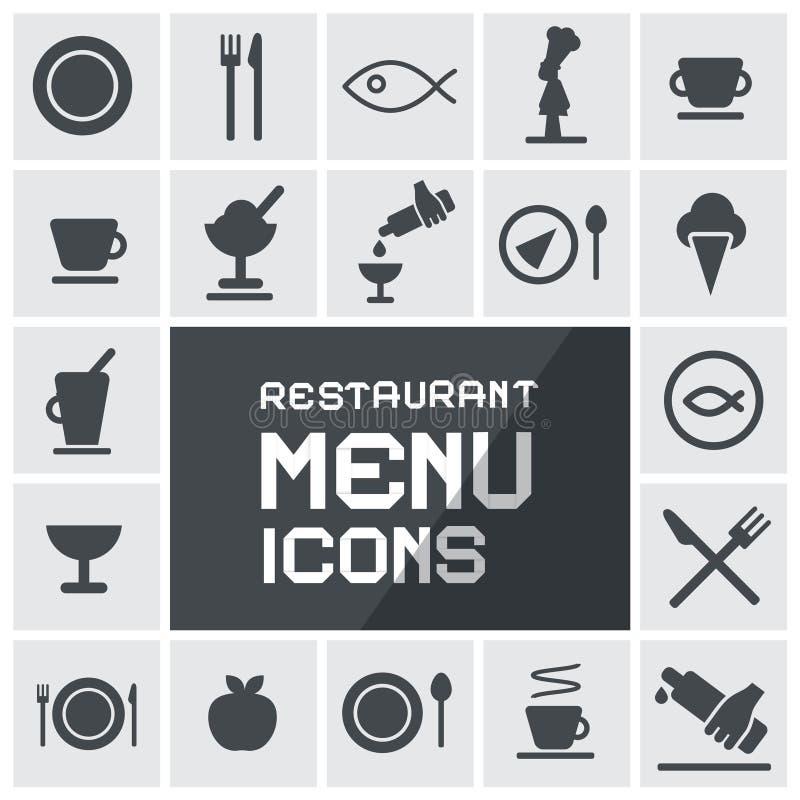 Ícones do menu do restaurante ajustados ilustração stock