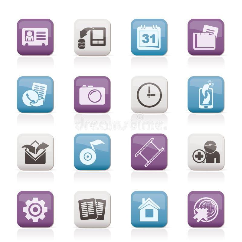 Ícones do menu do telefone móvel ilustração royalty free