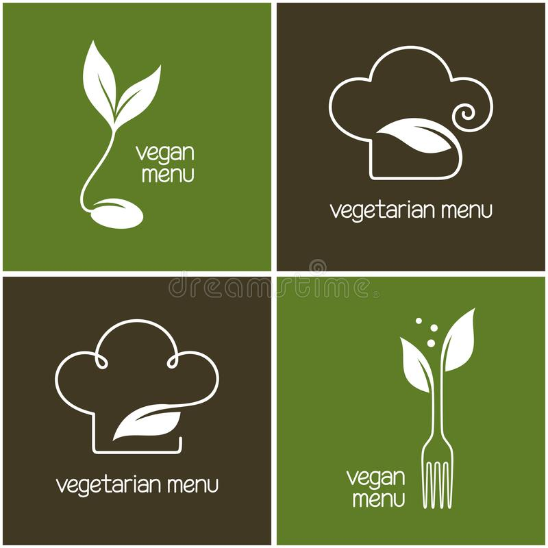 Ícones do menu do vegetariano e do vegetariano ilustração stock
