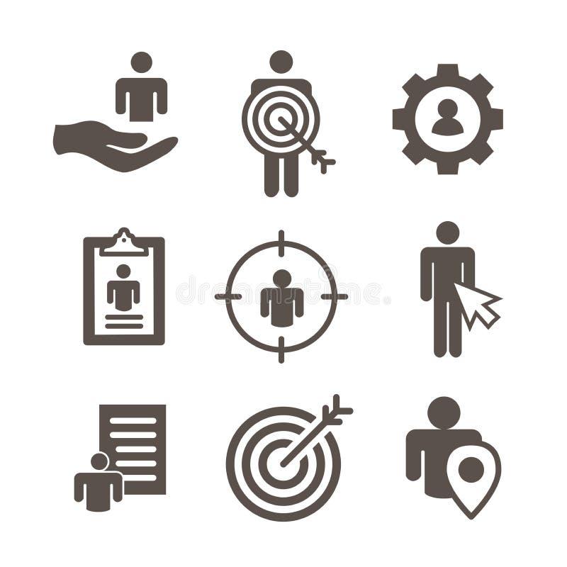 Ícones do mercado-alvo da imagem do comprador e da personalidade - engrenagem, seta, n ilustração stock
