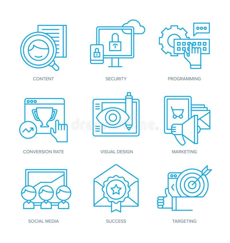 Ícones do mercado de SEO e de Digitas ilustração royalty free