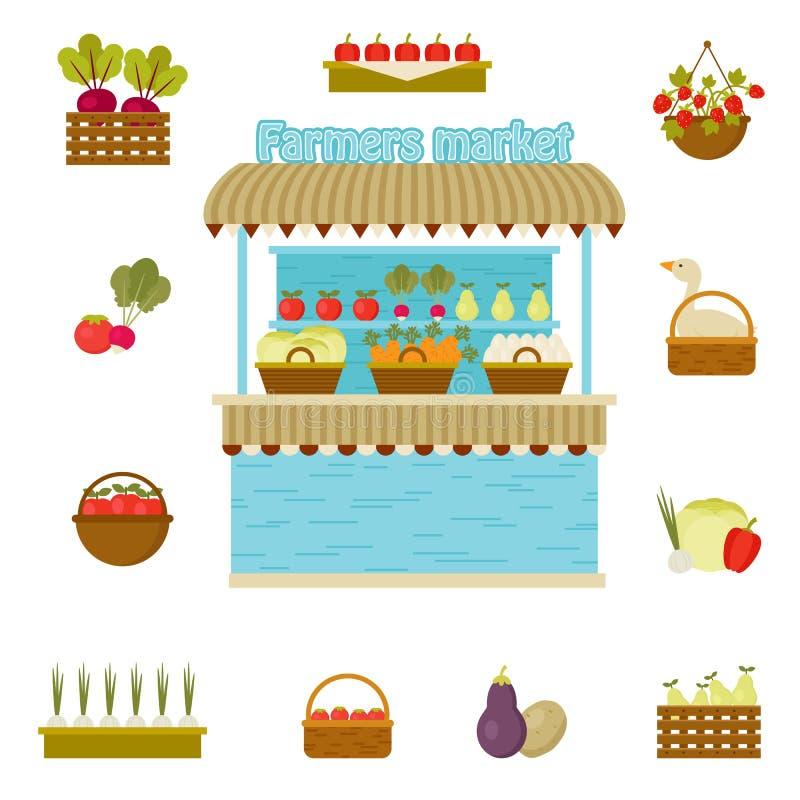 Ícones do mercado dos fazendeiros do vetor ilustração stock