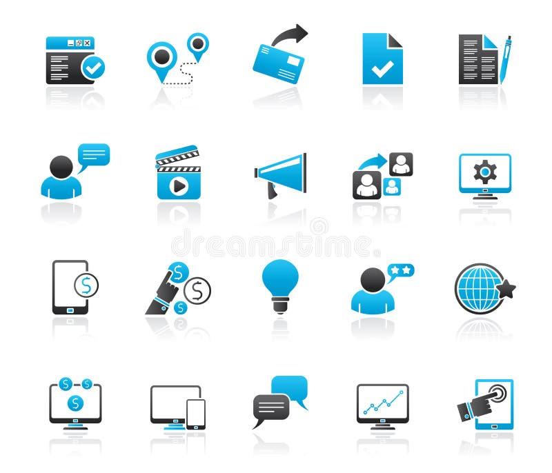 Ícones do mercado e do comércio do Internet ilustração do vetor