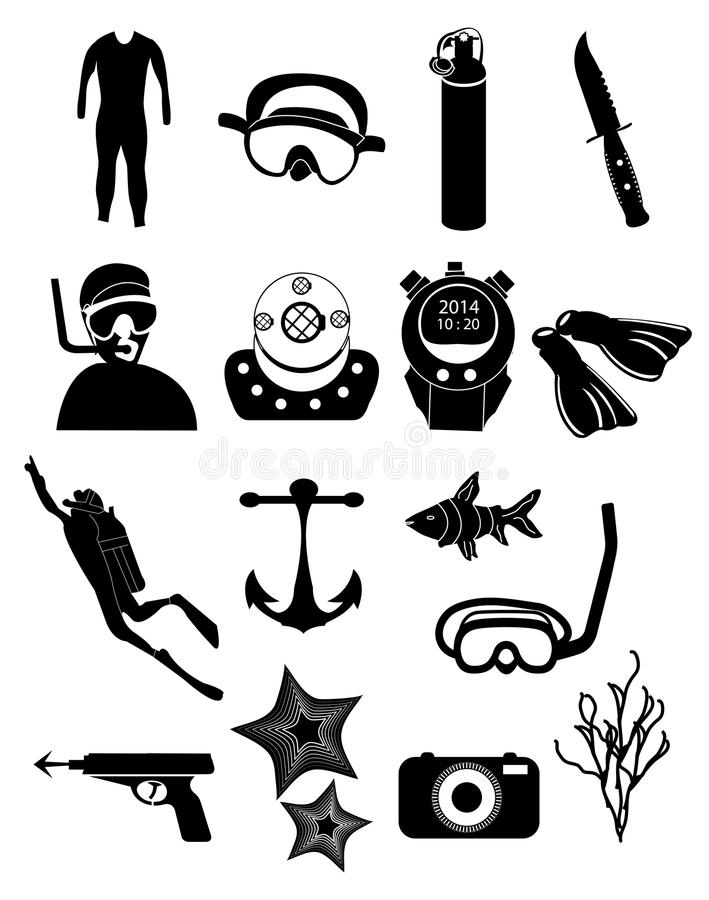 Ícones do mergulho ajustados ilustração do vetor