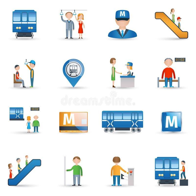 Ícones do metro ajustados ilustração stock