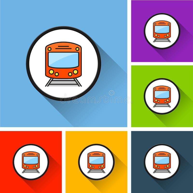 Ícones do metro com sombra longa ilustração royalty free