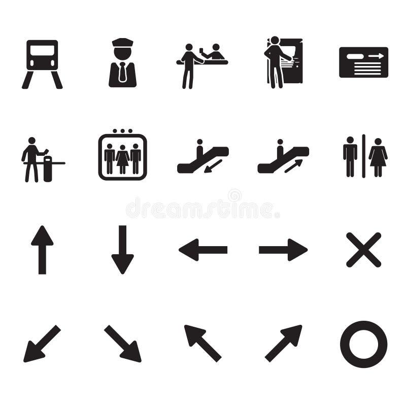 Ícones do metro e do metro ajustados ilustração do vetor
