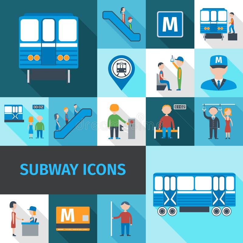 Ícones do metro lisos ilustração stock