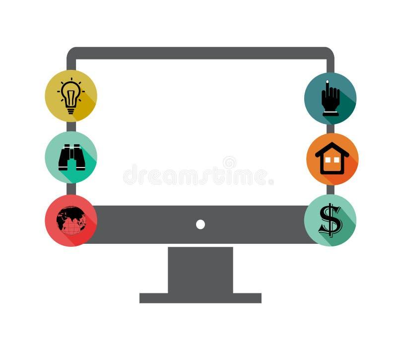 Ícones do monitor e da aplicação ilustração do vetor