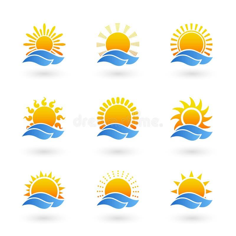 Ícones do nascer do sol ou do por do sol ilustração royalty free