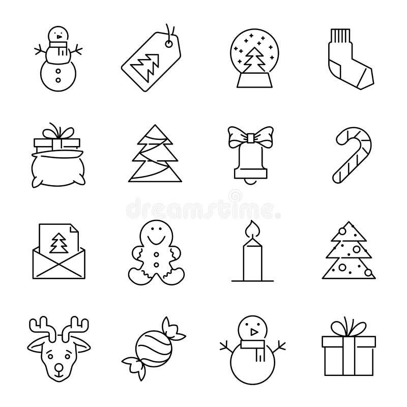 Ícones do Natal - árvore, boneco de neve e presentes do Xmas ilustração do vetor