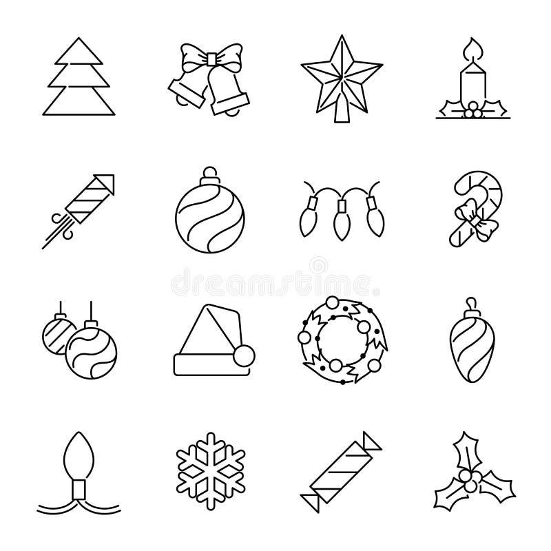 Ícones do Natal - árvore e decorações de Natal ilustração royalty free